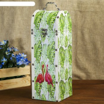Шкатулка дерево под бутылку пальмовые листья и фламинго 35х12х12 см