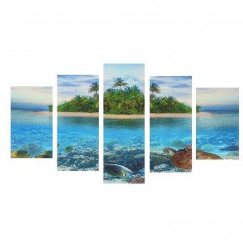 Картина модульная райский остров 75х135 см