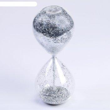Часы песочные, сондерс, сувенирные, 10х10х24.5 см, песок с серебристыми бл