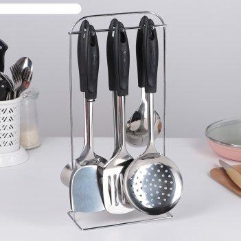 Набор кухонных принадлежностей «ривьера», 6 предметов, на подставке
