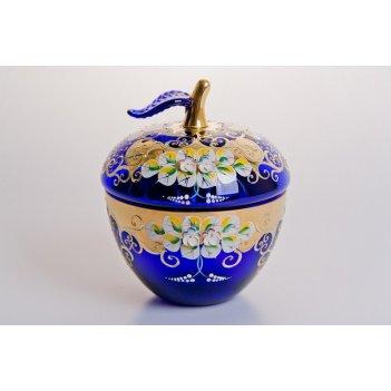 Ваза для конфет лепка синяя яблоко большая