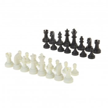 Шахматные фигуры, высота короля 6.2 см, пластик, чёрно-белые, в пакете