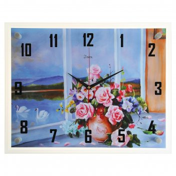 Часы настенные, серия: цветы, розовые розы, 35х45 см
