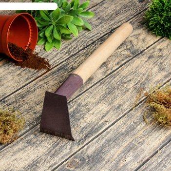 Мотыжка прямая, длина 26 см, деревянная ручка