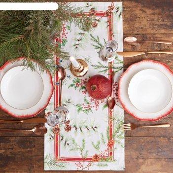 Дорожка на стол этель новогодние листья 30х70 см, 100% хл, саржа 190 гр/м2