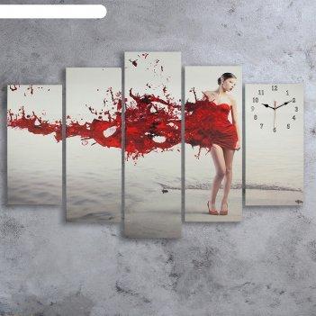 Часы настенные модульные «девушка в красном», 80 x 140 см