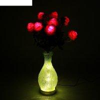 Светодиодная ваза 64х16 см, розы 10 led, от usb и 220v, фиксин, зеленый ми