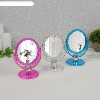 Зеркало настольное на ножке круглое, двухстороннее, с увеличением, цвет си