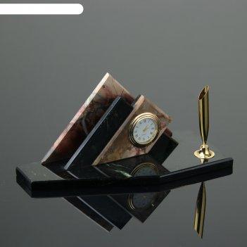 Набор настольный треугольник, с подставкой под ручку, 21х9х9 см, яшма, зме