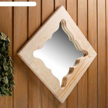 Зеркало резное бабочка, сосна, 40x40 см