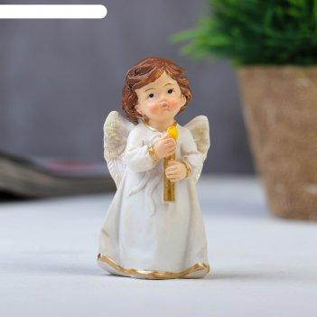 Сувенир полистоун ангелочек в платье, с свечой/сердцем микс 8,2х4х3 см