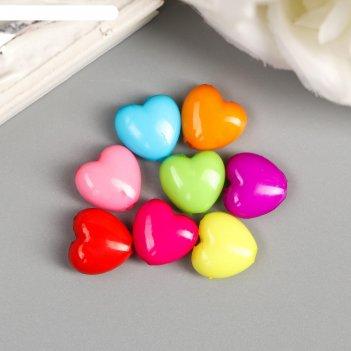 Бусины для творчества пластик сердечко пузатое цветные набор 100 шт 1х1,1