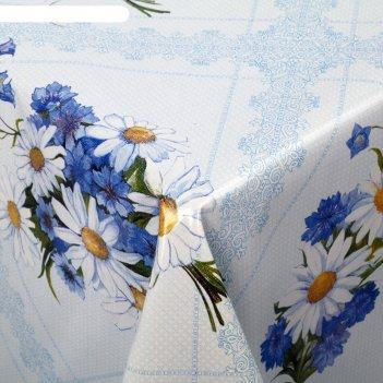 Клеенка столовая на тканевой основе букет ромашек, рулон 25 м, цвет голубо