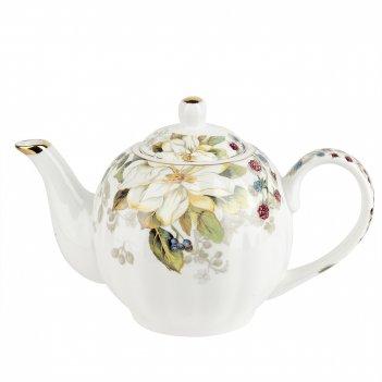 Чайник шиповник 25*15*17см. v=1300мл. (фарфор) (золотая обводка) (подарочн
