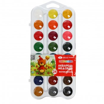 Акварель зхк «цветик», 24 цвета, в пластиковой коробке, без кисти