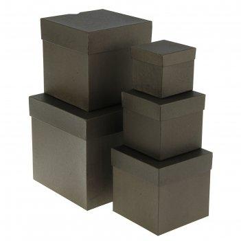 Набор коробок 5в1 крафт черный 22,5 х 22,5 х 22,5 - 9,5 х 9,5 х 9,5 см