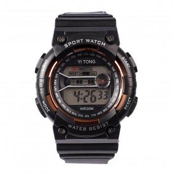 Часы наручные кретчер, электронные, с силиконовым ремешком, l=23 см, черны