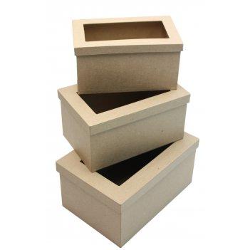 Набор из 3-х коробочек из папье-маше с окошком на крышке, макс. 25 х 17 х