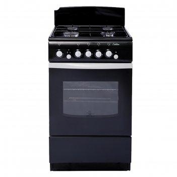 Плита газовая de luxe 5040.36 г, 4 конфорки, 43 л, газовая духовка, чёрный