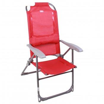 Кресло-шезлонг складное 2, сетка, размер 750x590x1090мм, цвет гранатовый