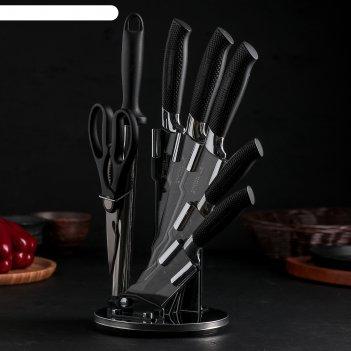 Набор 7 пред: 5 ножей 20/20/20/12/9 см, мусат, ножницы на подставке black