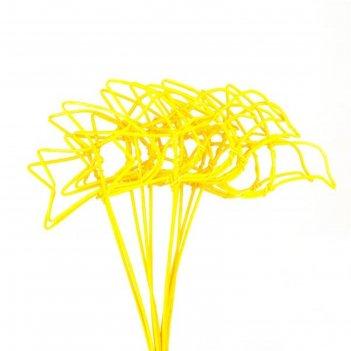 Птички из ротанга на пике, 10 шт., желтый