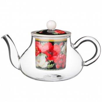 Чайник стеклянный с ситом lefard маки 500 мл черный (кор=24шт.)