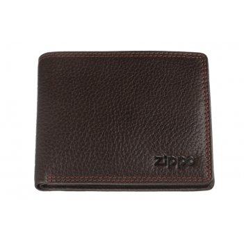 Портмоне zippo, коричневое, натуральная кожа, 10,82,58,6 см