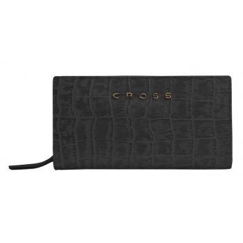 Клатч-кошелёк cross bebe coco, кожа наппа фактурная, цвет чёрный/розовый,