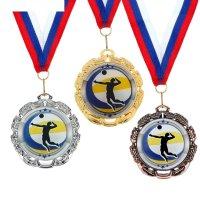 Медаль тематическая волейбол, 045, диам 6,5 см цвет зол