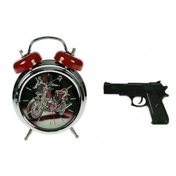 Часы-будильник меткое пробуждение с пистолетом 15*7*20см (уп
