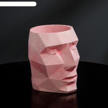 Кашпо розовое полигональное «голова», 11 х 13 см