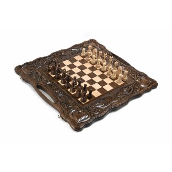 Шахматы + нарды резные королевские 50, harutyunyan