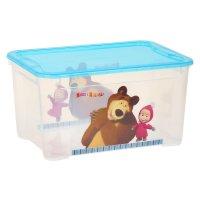 Ящик для игрушек маша и медведь прозрачный с голубой крышкой