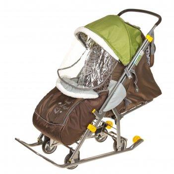 Санки-коляска наши детки, цвет: фьюжн оливковый