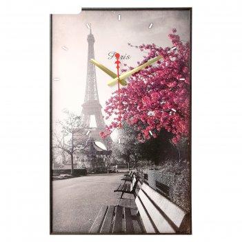 Часы-картина настенные прямоугольные цветущее дерево в париже, 37х60 см