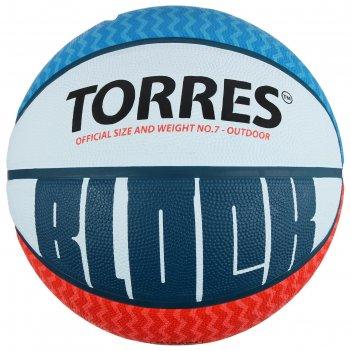 Мяч баскетбольный torres block, р.7, бело-сине-красный