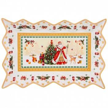 Блюдо для слоеных салатов christmas collection, 25*15 см. высота=3,5 см.