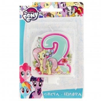 Свеча для торта цифра my little pony голубая 2