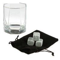 Набор для виски «соло», 4 предмета: 3 камня, 1 стакан