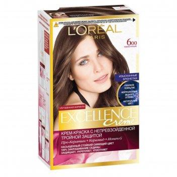 Крем-краска для волос l`oreal excellence creme, тон 600, тёмно-русый