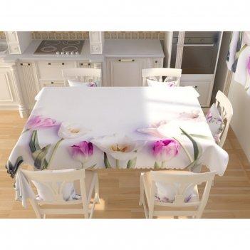 Фотоскатерть «белые тюльпаны», размер 145 x 145 см, габардин