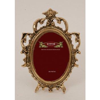 Фоторамка из бронзы овальная маленькая virtus золото 16х11см 4717