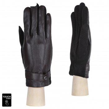 Перчатки мужские,натуральная кожа (размер 8) коричневый, touchscreen