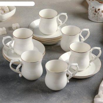 Сервиз кофейный бланж, 12 предметов: 6 чашек 100 мл, 6 блюдец 12 см