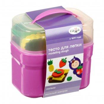 Тесто для лепки малыш. веселый завтрак , 4 цвета * 60г, 8 формочек, пласти