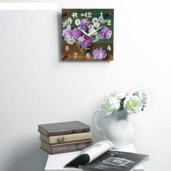 Часы настенные, серия: цветы, ваза с цветами, 25х25  см, микс