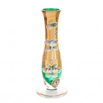 Ваза для цветов bohemia лепка зелёная 18см