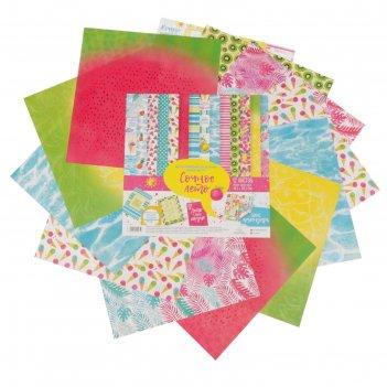 Набор бумаги для скрапбукинга  сочное лето 12 листов 30,5 х 30,5 см, 180 г