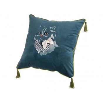 Декоративная подушка кот 45х45 см., бирюза , вышивка, 100%пэ